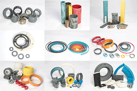 All Tufcot products including bearings, wear rings, wear pads, custom parts - composite materials manufacturer