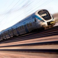 High speed train on a blurred background.