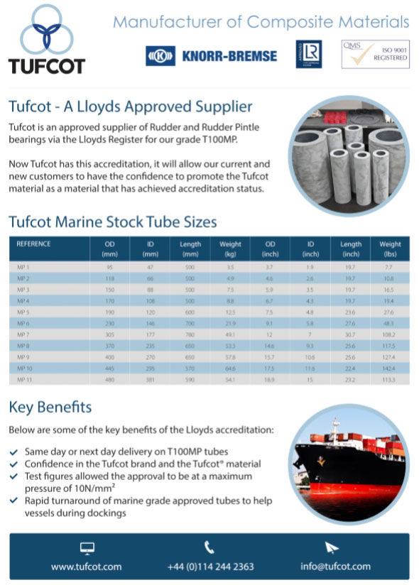 Tufcot Marine tubes - Composite materials for the marine sector